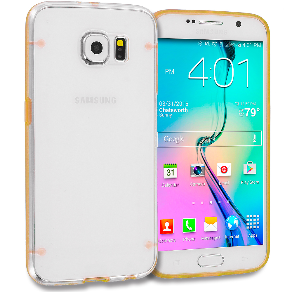 Samsung Galaxy S6 3 in 1 Combo Bundle Pack - Crystal Robot Hard TPU Case Cover : Color Gold