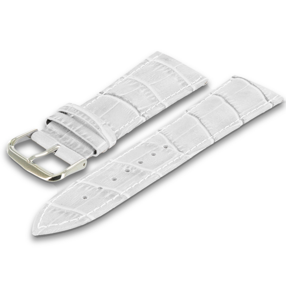 Apple Watch 42mm White Crocodile Leather Premium Buckle Watch Band Strap