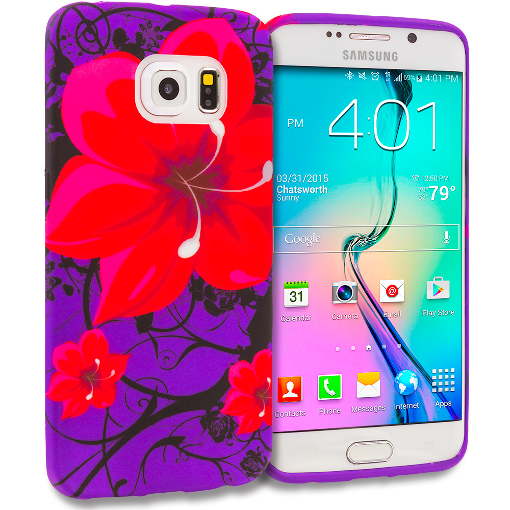 Samsung Galaxy S6 Edge Red Rose Purple TPU Design Soft Rubber Case Cover
