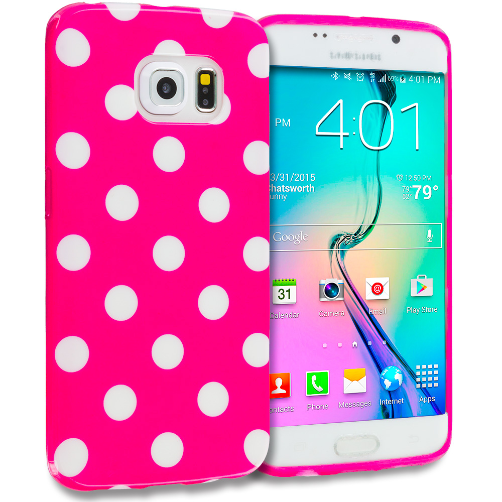 Samsung Galaxy S6 Edge 3 in 1 Combo Bundle Pack - TPU Polka Dot Skin Case Cover : Color Hot Pink / White