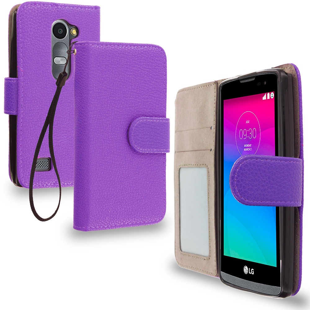 LG Tribute 2 Leon Power Destiny Purple Leather Wallet Pouch Case Cover with Slots