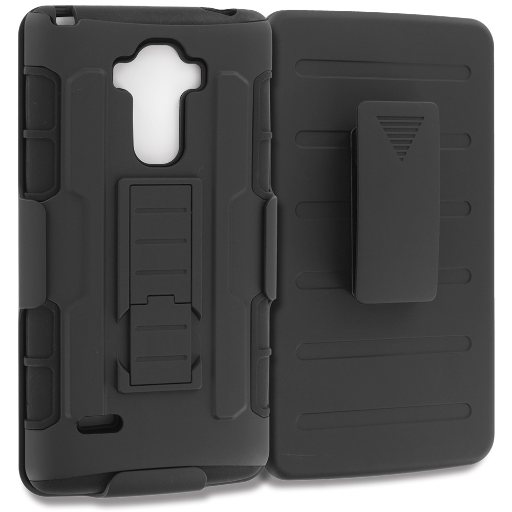 LG G Stylo LS770 / G4 Stylus Black Hybrid Rugged Robot Armor Heavy Duty Case Cover with Belt Clip Holster
