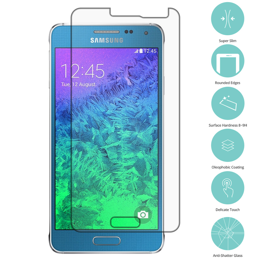 Samsung Galaxy Alpha G850 Clear Tempered Glass Film Screen Protector Clear