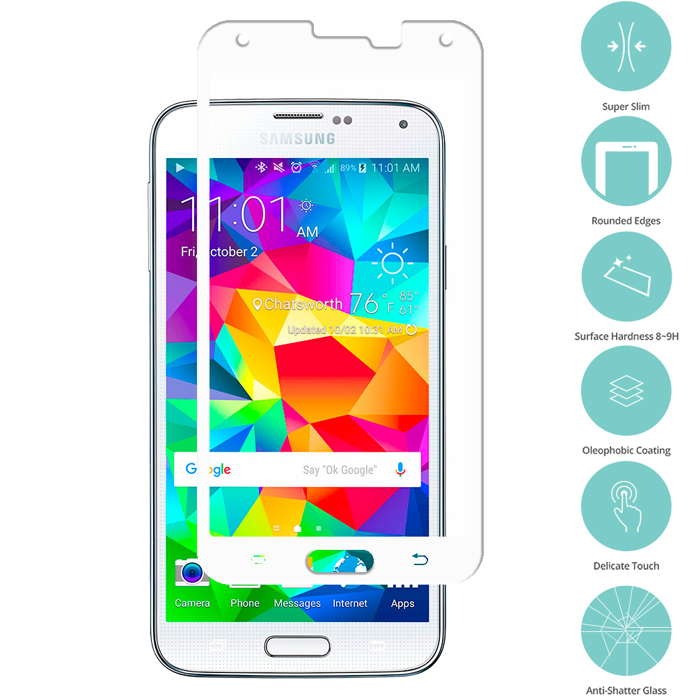 Samsung Galaxy S5 White Tempered Glass Film Screen Protector Colored