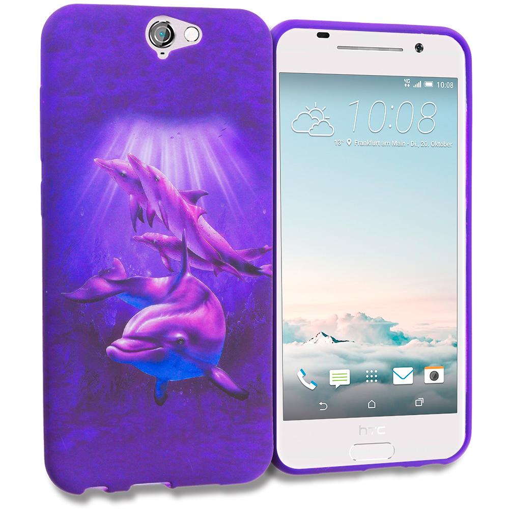 HTC Aero One A9 Purple Dolphin TPU Design Soft Rubber Case Cover