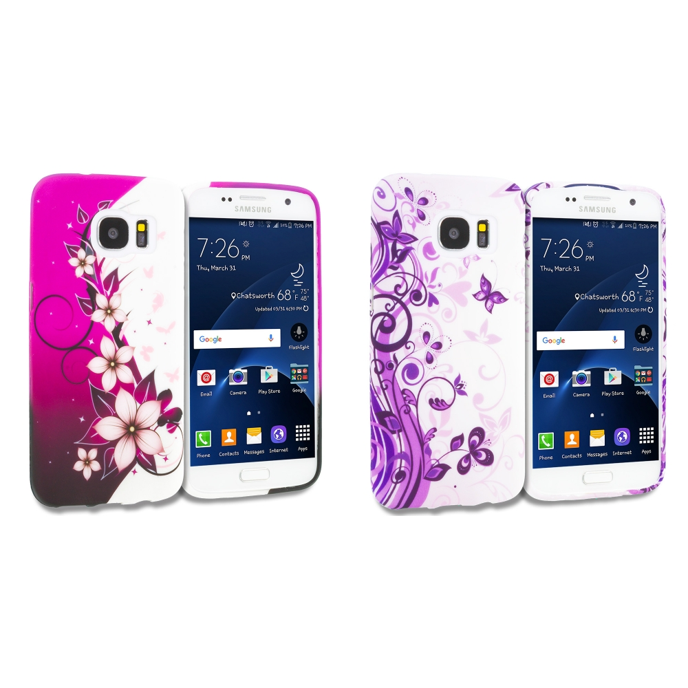 Samsung Galaxy S7 Combo Pack : Purple Silver Vine Flower TPU Design Soft Rubber Case Cover