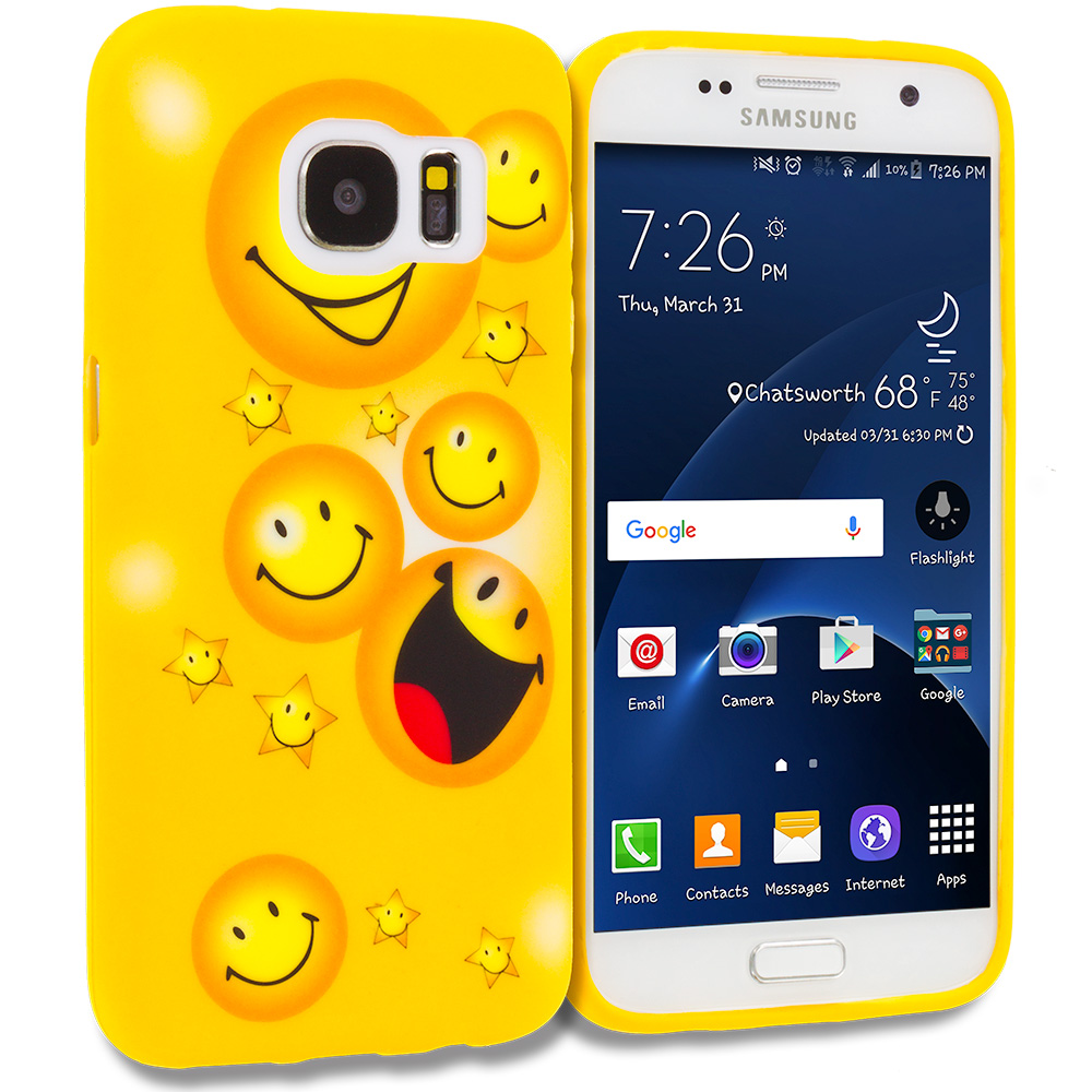 Samsung Galaxy S7 Combo Pack : Smiley Face TPU Design Soft Rubber Case Cover : Color Smiley Face