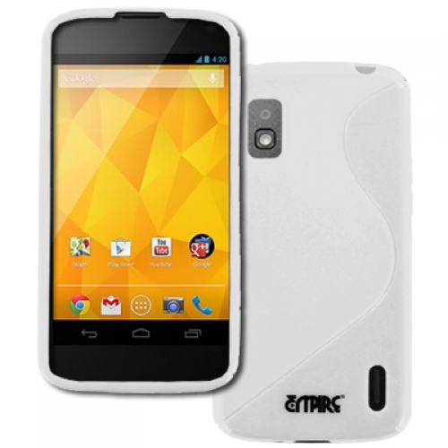 Google Nexus 4 E960 MPERO Flexible S-Shape Poly Skin TPU White Case Cover