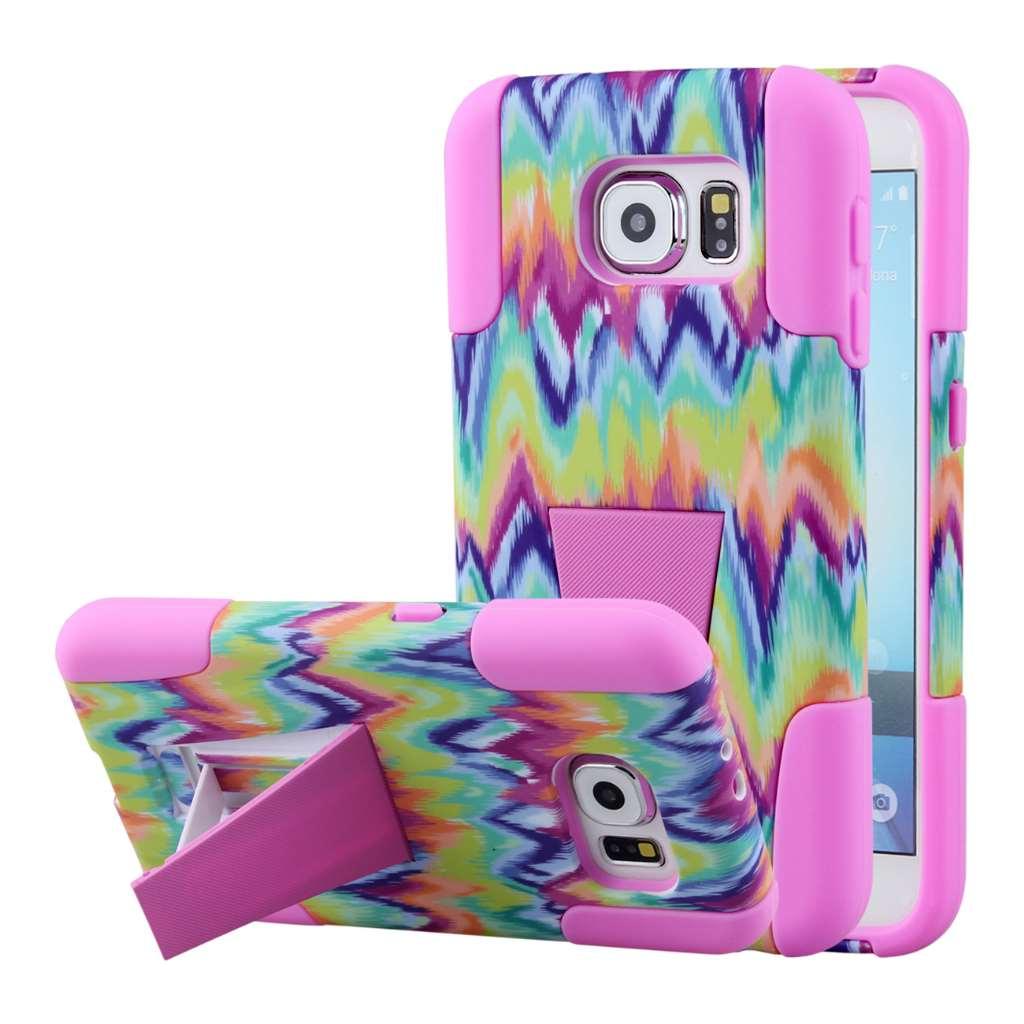 Samsung Galaxy S6 - Pink Tie Dye Chevron MPERO IMPACT X - Kickstand Case
