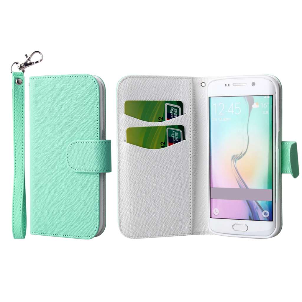 Samsung Galaxy S6 Edge - Mint MPERO FLEX FLIP Wallet Case Cover