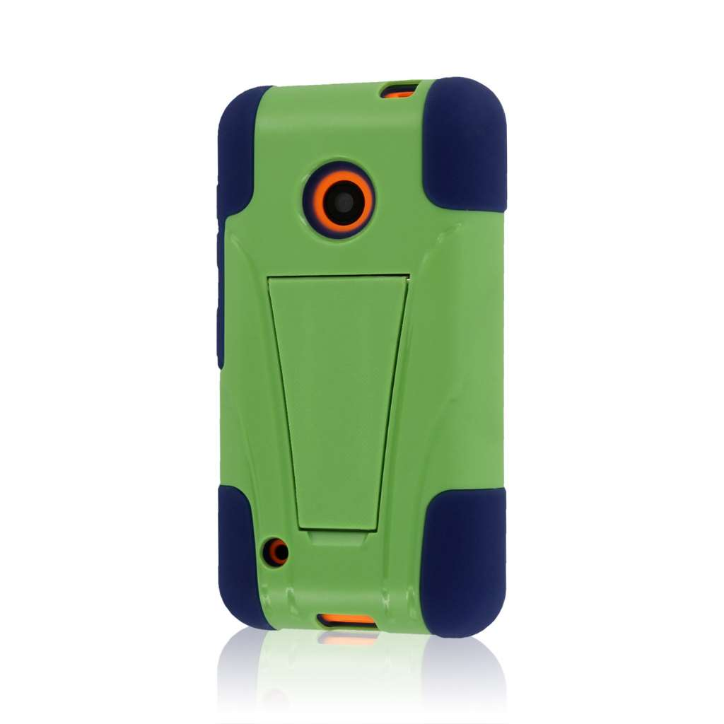 Nokia Lumia 530 - Blue / Green MPERO IMPACT X - Kickstand Case Cover