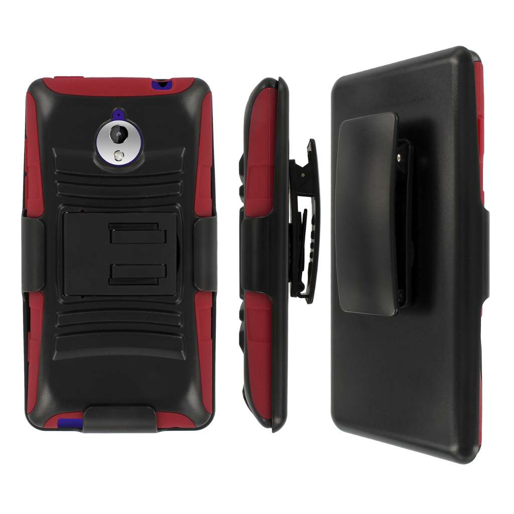 HTC 8XT- BLACK / RED MPERO IMPACT XT - Kickstand Case Cover and Belt Holster