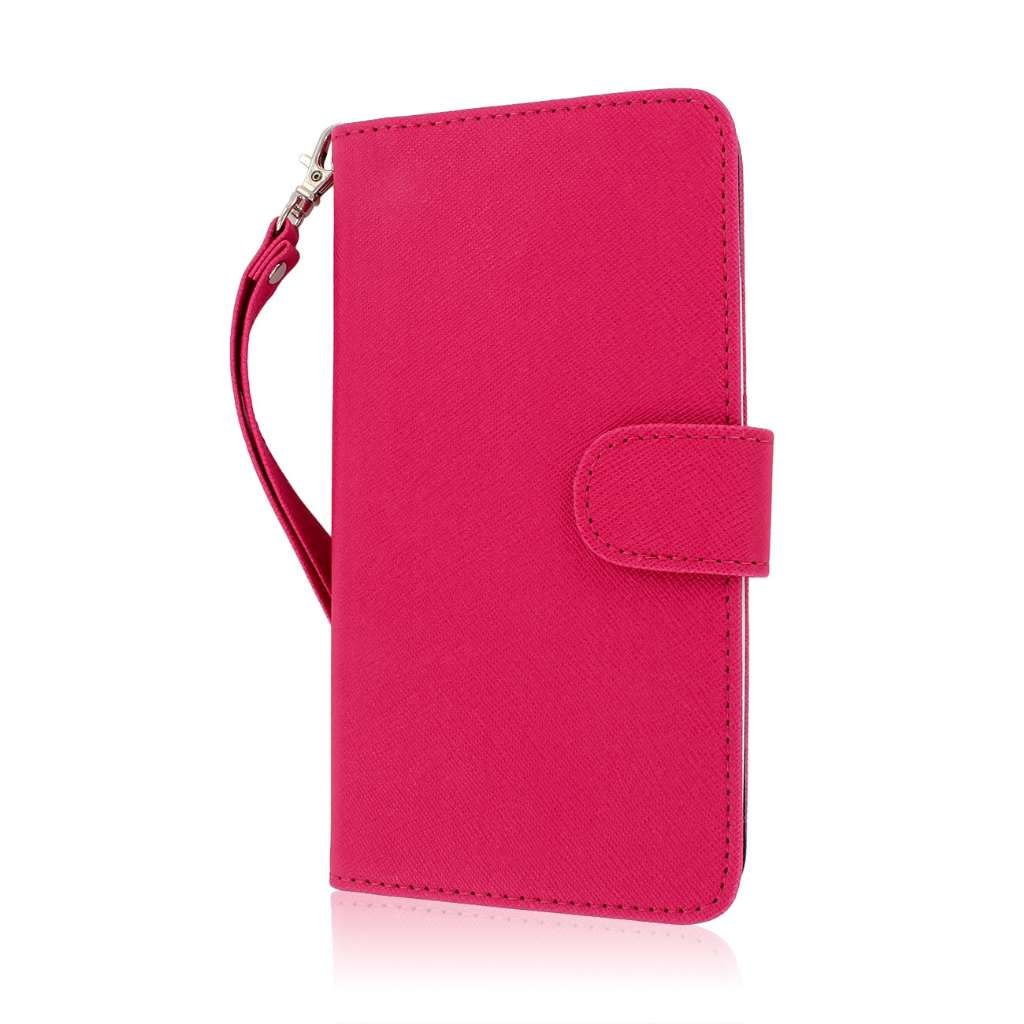 HTC One Max T6- HOT PINK/ NAVY BLUE MPERO FLEX FLIP Wallet Case Cover