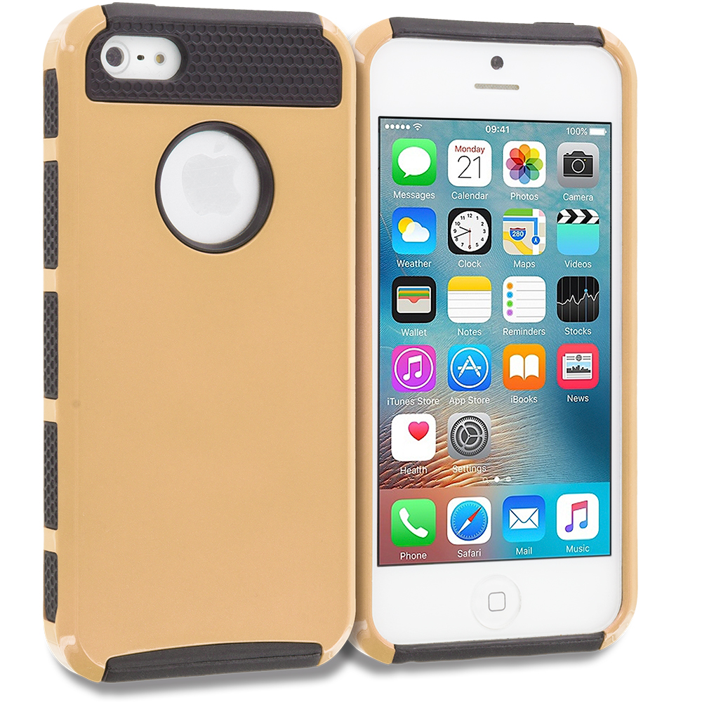 Apple iPhone 5/5S/SE Combo Pack : Gold / Gold Hybrid Hard TPU Honeycomb Rugged Case Cover : Color Gold / Black