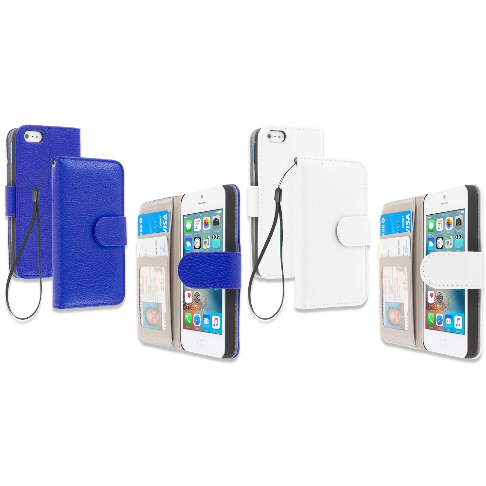 Apple iPhone 5/5S/SE Combo Pack : Blue Leather Wallet Pouch Case Cover with Slots