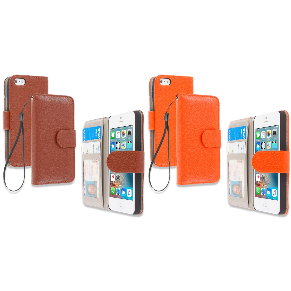 Apple iPhone 5/5S/SE Combo Pack : Brown Leather Wallet Pouch Case Cover with Slots