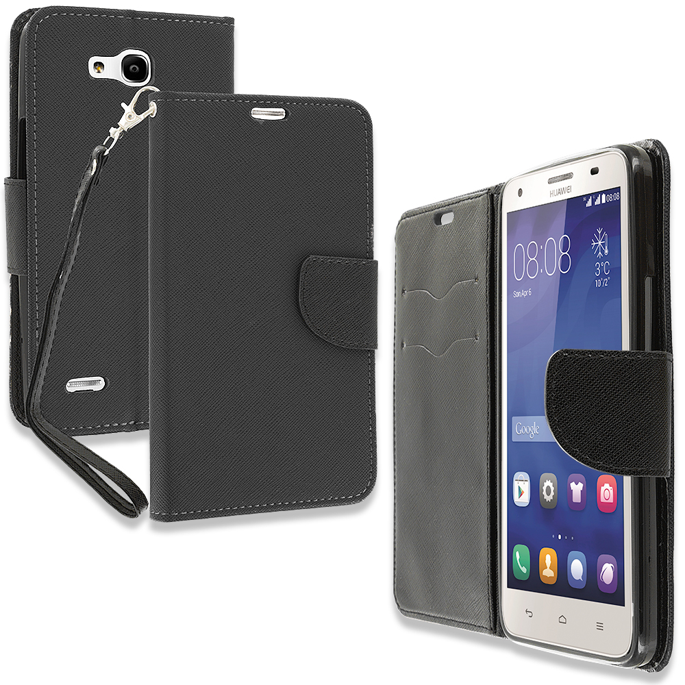 Huawei Honor 3x G750 Black Leather Flip Wallet Pouch TPU Case Cover with ID Card Slots