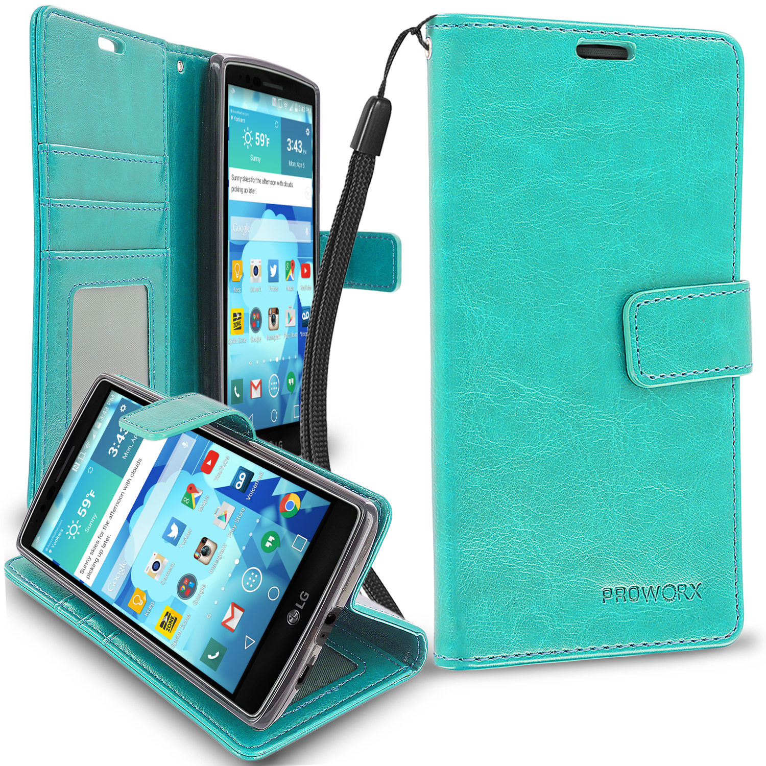 LG G Flex 2 Mint Green ProWorx Wallet Case Luxury PU Leather Case Cover With Card Slots & Stand