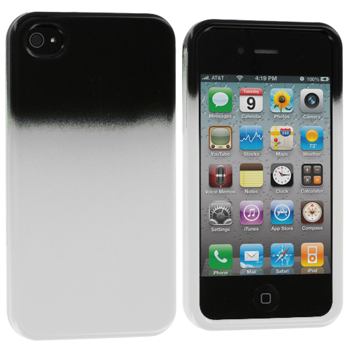 Apple iPhone 4 / 4S 2 in 1 Combo Bundle Pack - Orange / White Two-Tone Hard Case Cover : Color Black / White