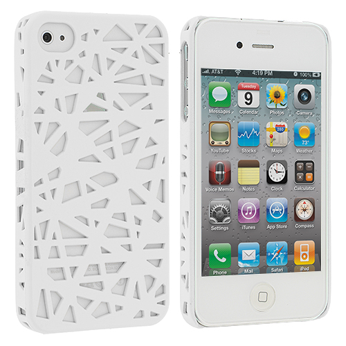 Apple iPhone 4 / 4S 2 in 1 Combo Bundle Pack - Black White Birds Nest Hard Rubberized Back Cover Case : Color White Birds Nest