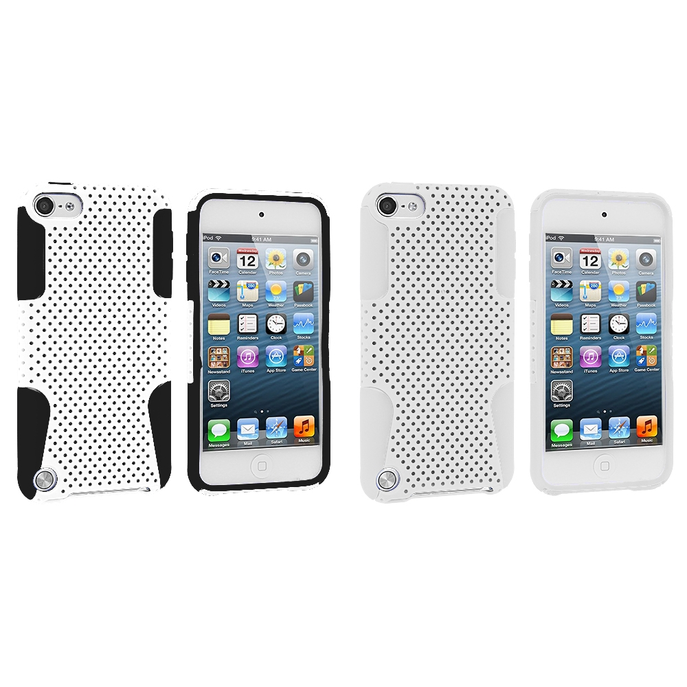 Apple iPod Touch 5th 6th Generation 2 in 1 Combo Bundle Pack - Black / White Hybrid Mesh Hard/Soft Case Cover