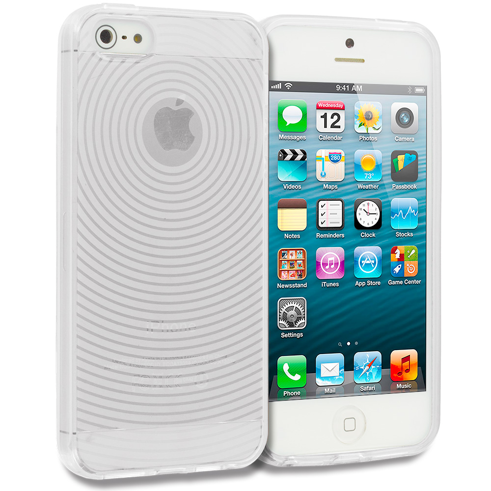 Apple iPhone 5/5S/SE 2 in 1 Combo Bundle Pack - Clear Fingerprint TPU Rubber Skin Case Cover : Color Clear Fingerprint
