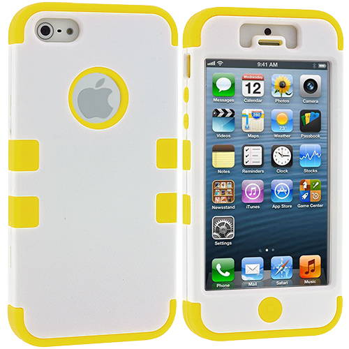 Apple iPhone 5/5S/SE Combo Pack : White / Purple Hybrid Tuff Hard/Soft 3-Piece Case Cover : Color White / Yellow
