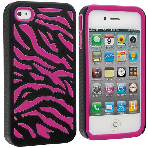 Apple iPhone 4 / 4S Hot Pink / Black Hybrid Zebra Hard/Soft Case Cover