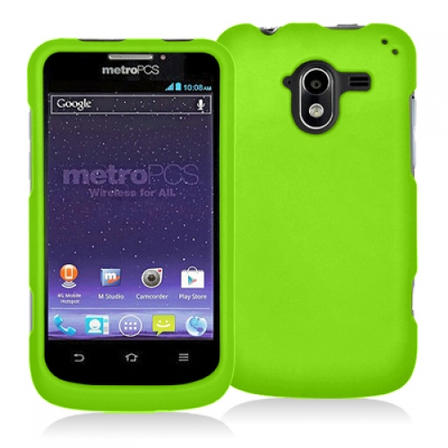 ZTE Avid 4G N9120 Neon Green Hard Rubberized Case Cover