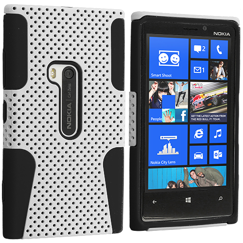 Nokia Lumia 920 Black / White Hybrid Mesh Hard/Soft Case Cover