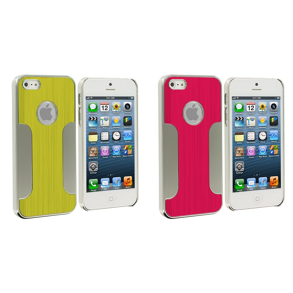 Apple iPhone 5/5S/SE Combo Pack : Red Brushed Metal Aluminum Metal Hard Case Cover