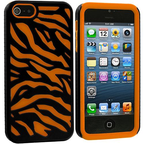 Apple iPhone 5/5S/SE Combo Pack : Orange / Black Hybrid Zebra Hard/Soft Case Cover : Color Orange / Black