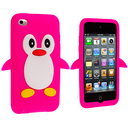 Apple iPod Touch 4th Generation Hot Pink Penguin (Open) Silicone Design Soft Skin Case Cover
