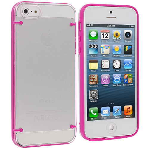 Apple iPhone 5/5S/SE Hot Pink Crystal Robot Hard Case Cover