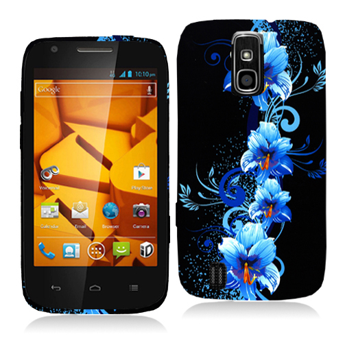 ZTE Force N9100 Blue Flowers Hard Rubberized Design Case Cover