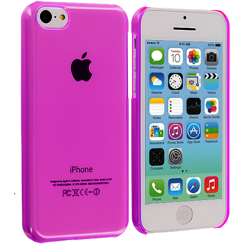 Apple iPhone 5C 2 in 1 Combo Bundle Pack - Clear Transparent Crystal Hard Back Cover Case : Color Light Pink Transparent