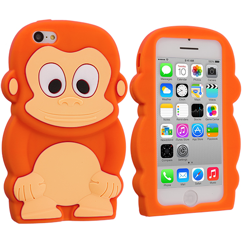 Apple iPhone 5C 2 in 1 Combo Bundle Pack - Orange White Monkey Silicone Design Soft Skin Case Cover : Color Orange Monkey