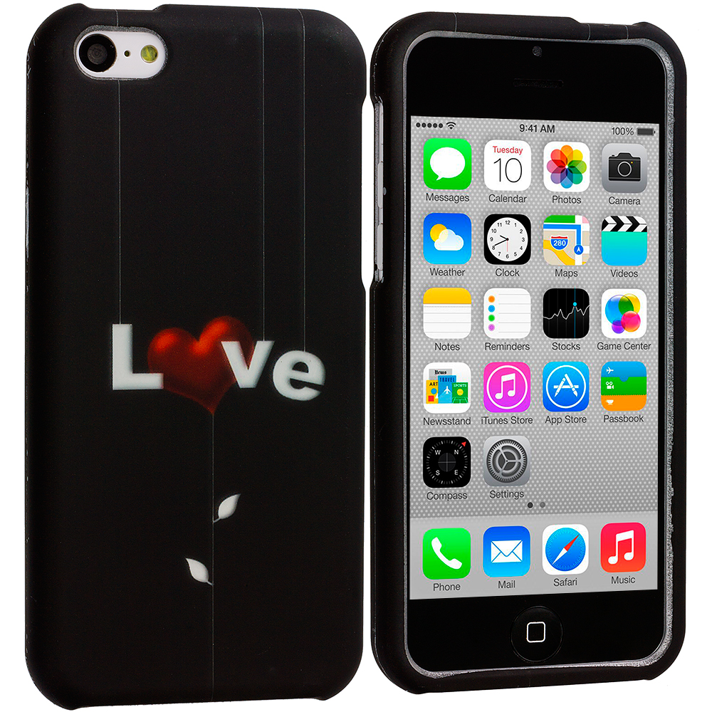 Apple iPhone 5C Love Letter on Black Hard Rubberized Design Case Cover