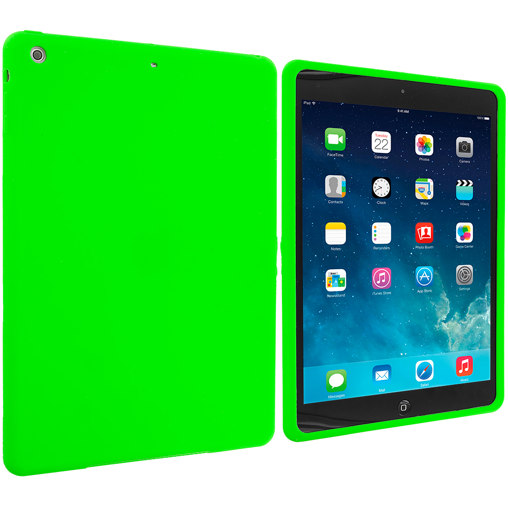 Apple iPad Air Neon Green Silicone Soft Skin Case Cover