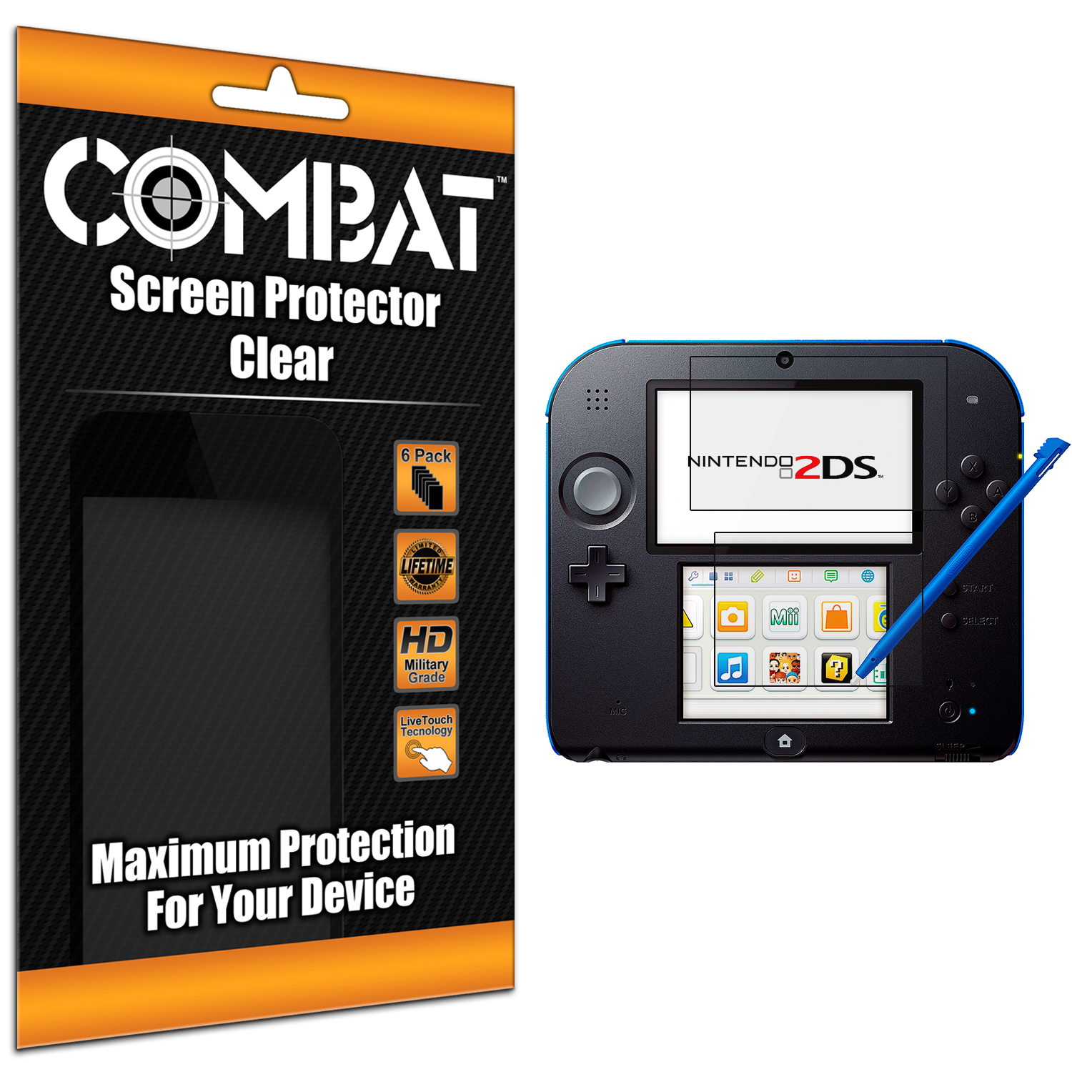 Nintendo 2DS Combat 6 Pack HD Clear Screen Protector