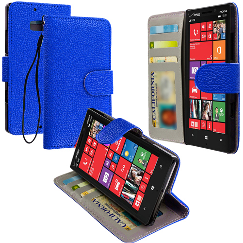 Nokia Lumia 929 Icon Blue Leather Wallet Pouch Case Cover with Slots