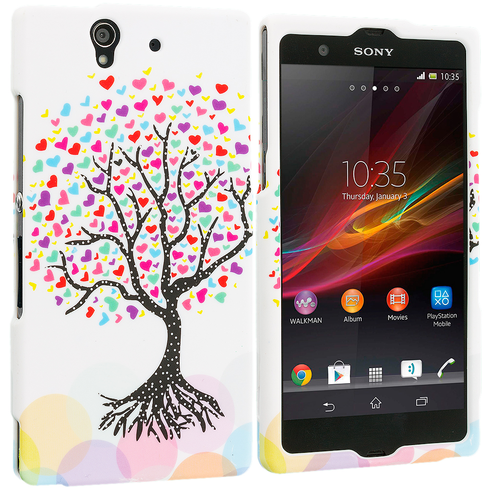 Sony Xperia Z Love Tree on White Hard Rubberized Design Case Cover