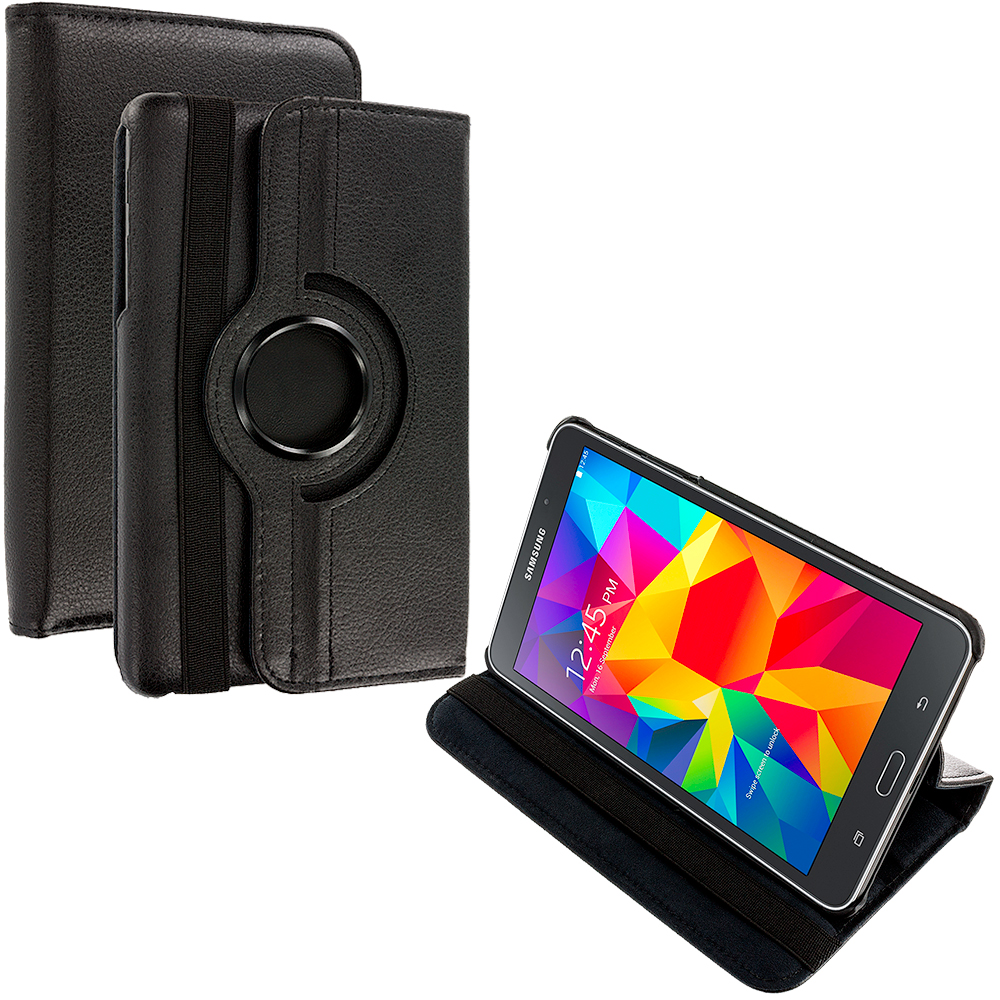 Samsung Galaxy Tab 4 8.0 Black 360 Rotating Case Cover Pouch Stand