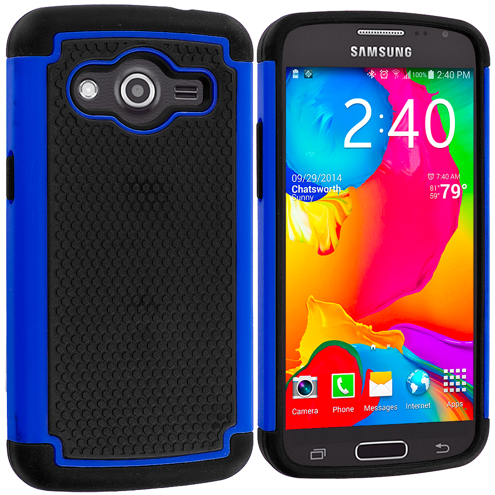 Samsung Galaxy Avant G386 Black / Blue Hybrid Rugged Grip Shockproof Case Cover