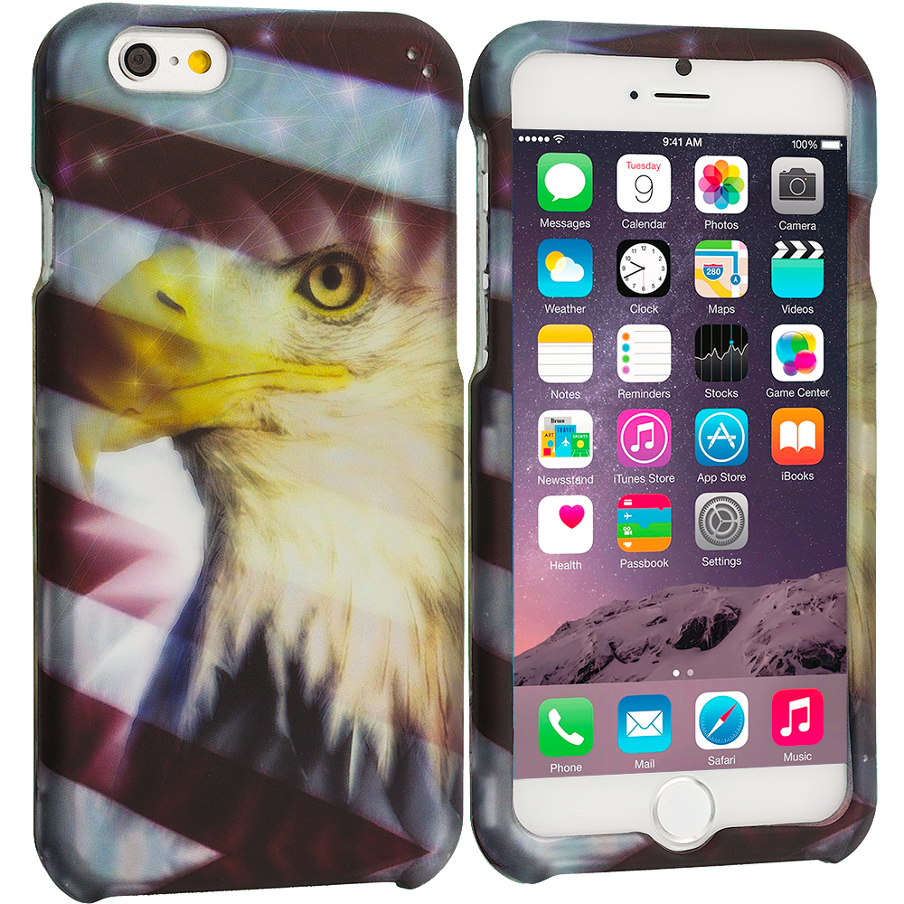Apple iPhone 6 Plus 6S Plus (5.5) USA Eagle 2D Hard Rubberized Design Case Cover