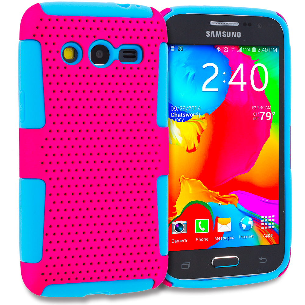 Samsung Galaxy Avant G386 Baby Blue / Hot Pink Hybrid Mesh Hard/Soft Case Cover