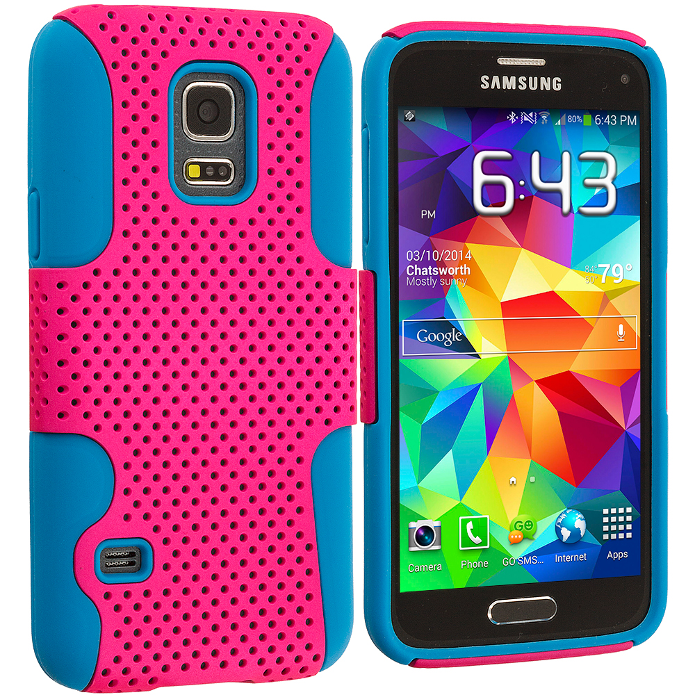 Samsung Galaxy S5 Mini G800 Baby Blue / Hot Pink Hybrid Mesh Hard/Soft Case Cover
