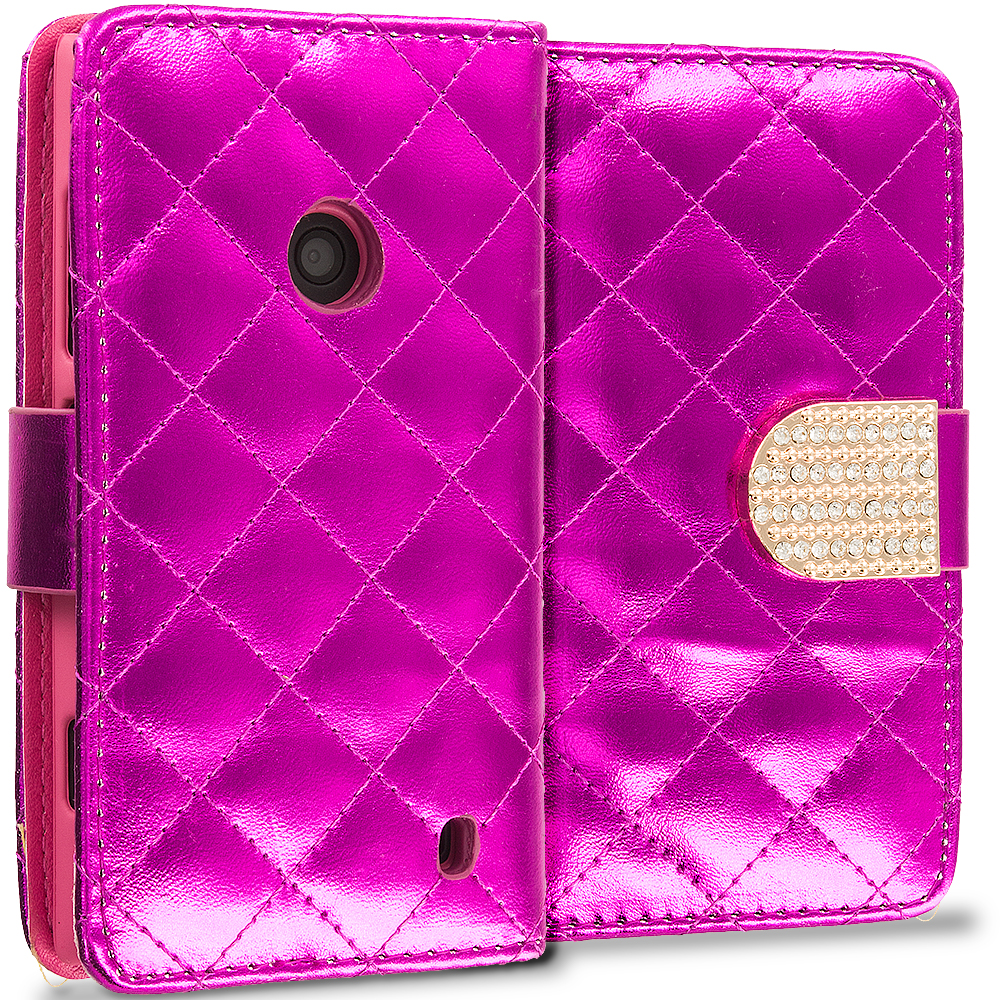 Nokia Lumia 520 Hot Pink Luxury Wallet Diamond Design Case Cover With Slots