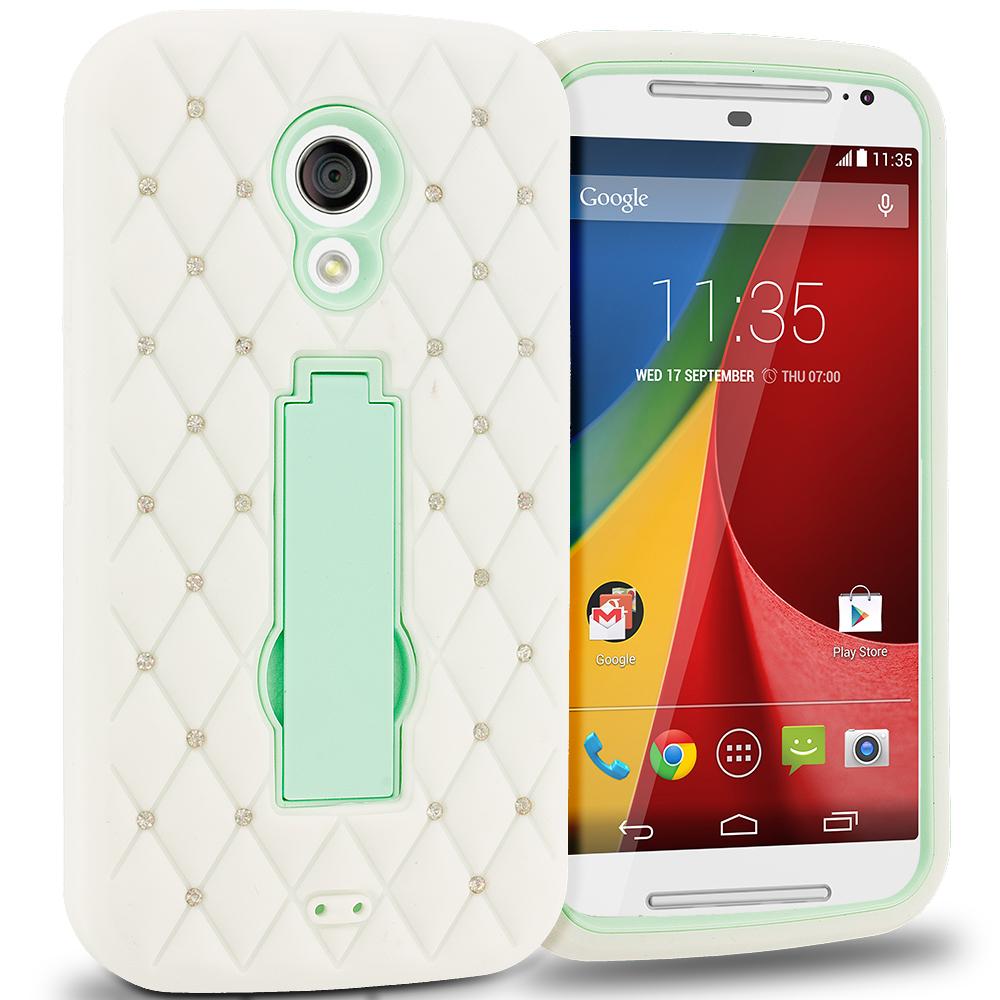 Motorola Moto G 2nd Gen 2014 White / Mint Green Hybrid Diamond Bling Hard Soft Case Cover with Kickstand
