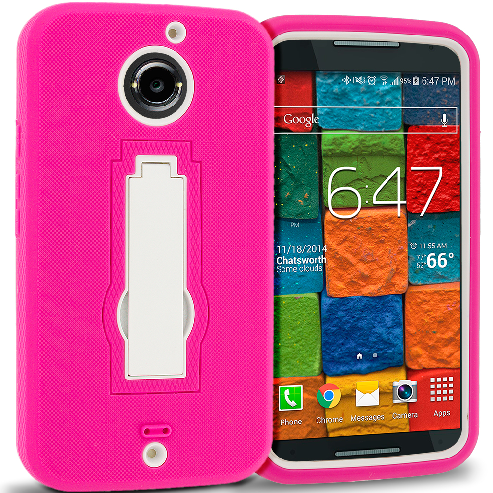 Motorola Moto X 2nd Gen Hot Pink / White Hybrid Heavy Duty Hard Soft Case Cover with Kickstand